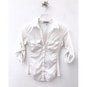 james perse / white 3/4 sleeve panel button down